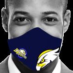 Man volledig grijs mondmasker blauw logo en adelaar